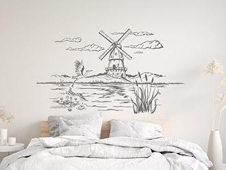 Wandtattoo Landschaft mit Windmühle und Kranich
