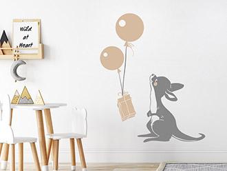 Wandtattoo Süßes Känguru mit Ballons