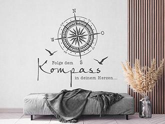 Wandtattoo Kompass in Deinem Herzen