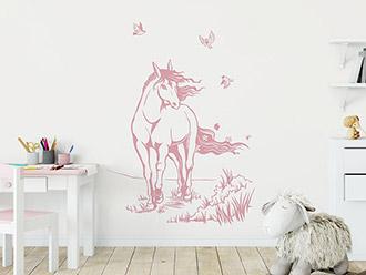 Wandtattoo Elegantes Pferd mit Vögeln