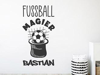 Wandtattoo Fußball Magier mit Wunschname