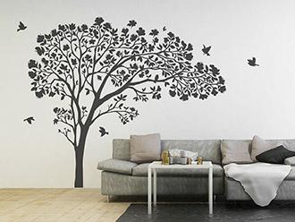 Wandtattoo Blätterbaum mit Blüten und Vögeln