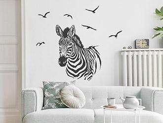 Wandtattoo Zebra mit Vogelschwarm