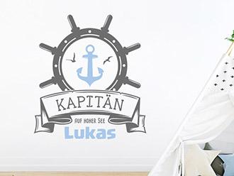 Wandtattoo Kapitän mit Wunschname
