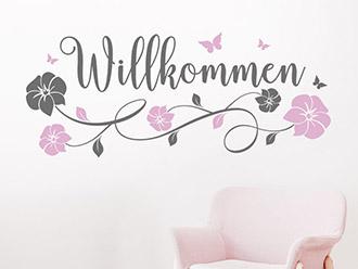 Wandtattoo Willkommen mit Blütenranke