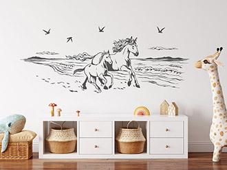 Wandtattoo Wilde Pferde am Meer