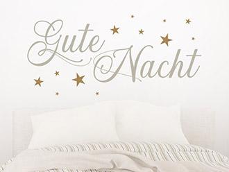 Wandtattoo Gute Nacht und Sterne
