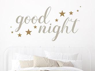 Wandtattoo Good night mit Sternen