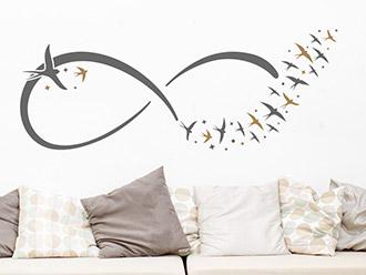 Wandtattoo Infinityzeichen mit Vögeln