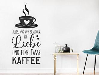 Wandtattoo Liebe und eine Tasse Kaffee