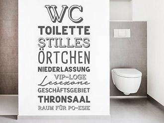 Wandtattoo WC Worte