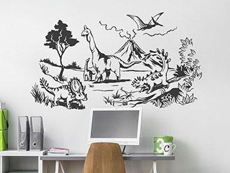 Wandtattoo Landschaft mit Dinos