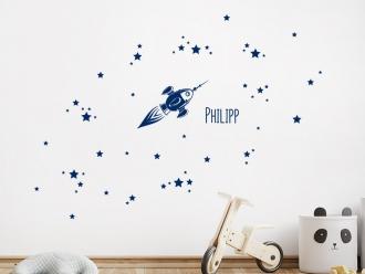 Wandtattoo Rakete mit Sternen und Name