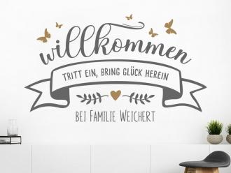 Wandtattoo Willkommen mit Familienname