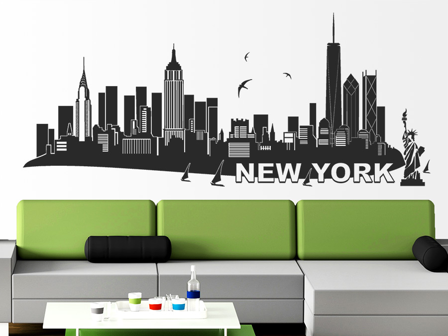 Wandtattoo New York Skyline | WANDTATTOO.DE | {Jugendzimmer planen 26}