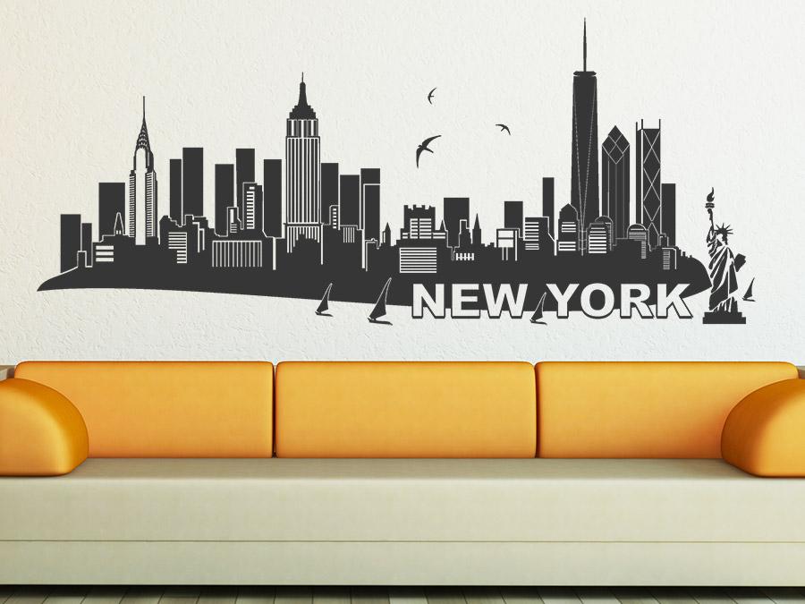 Wandtattoo New York Skyline Wandtattoo New York Im Wohnzimmer ...