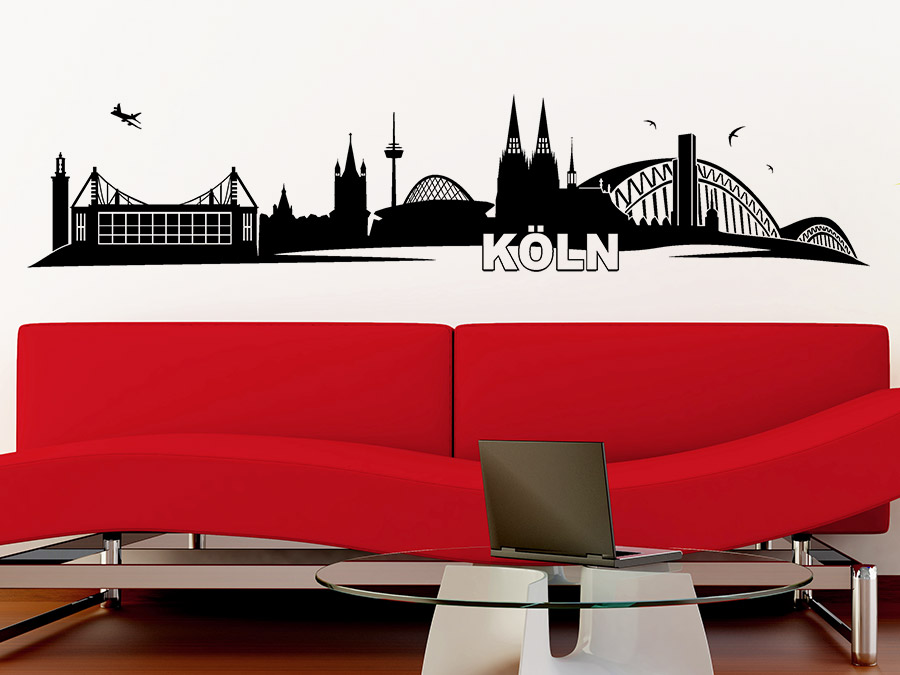 wandtattoo skyline von k ln bei. Black Bedroom Furniture Sets. Home Design Ideas