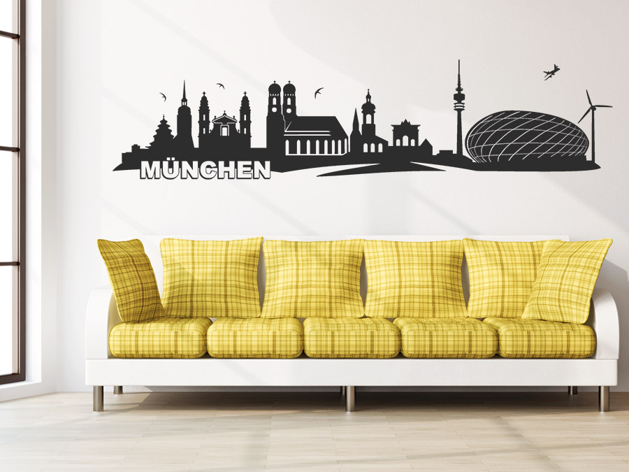 wandtattoo m nchen skyline wandtattoo de. Black Bedroom Furniture Sets. Home Design Ideas
