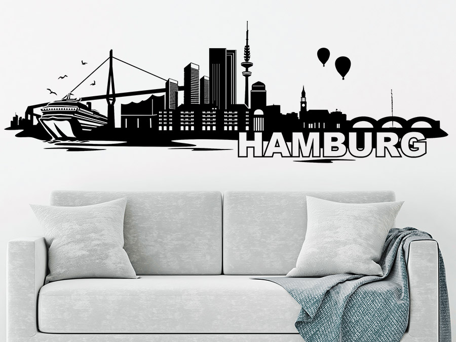 wandtattoo skyline von hamburg bei. Black Bedroom Furniture Sets. Home Design Ideas