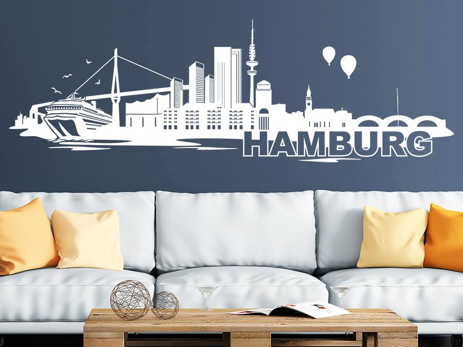 wandtattoo hamburg skyline wandtattoo de. Black Bedroom Furniture Sets. Home Design Ideas