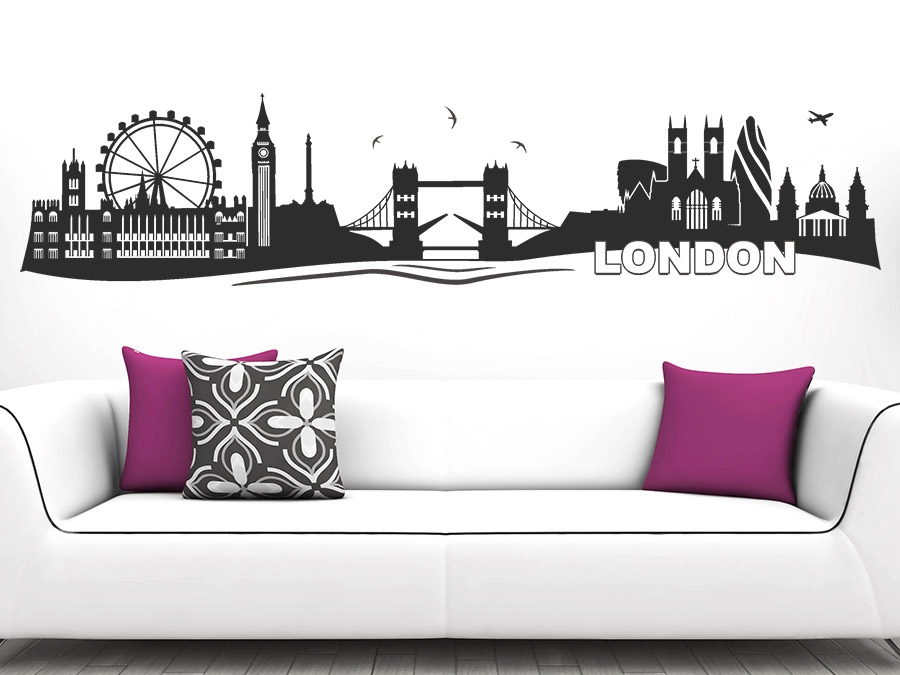 wandtattoo skyline von london bei. Black Bedroom Furniture Sets. Home Design Ideas