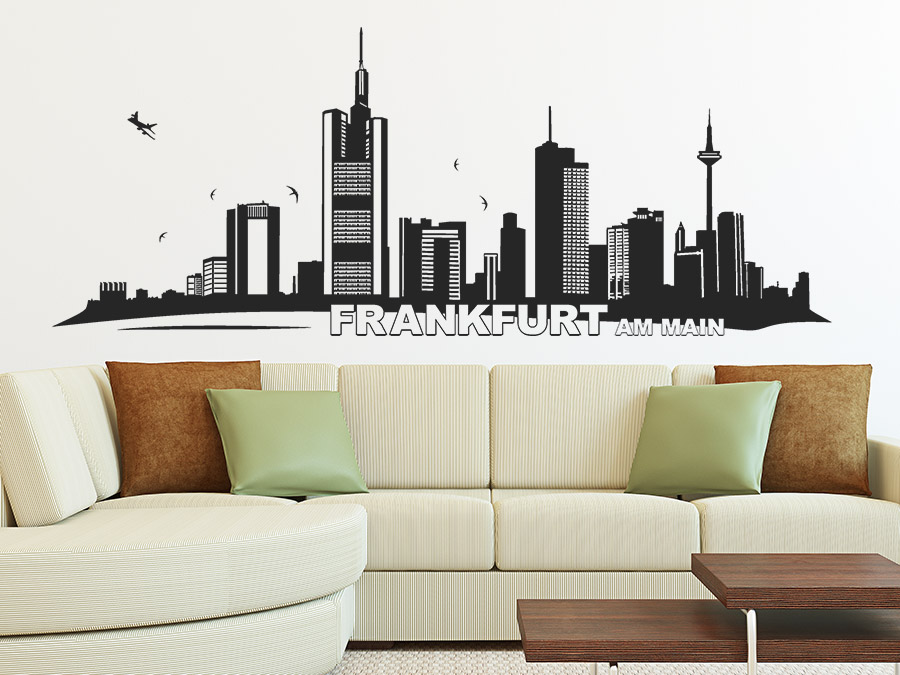 wandtattoo frankfurt skyline mit wolkenkratzern. Black Bedroom Furniture Sets. Home Design Ideas
