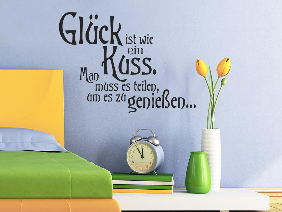 Wandtattoo Glück ist wie ein Kuss Spruch von Wandtattoo.de