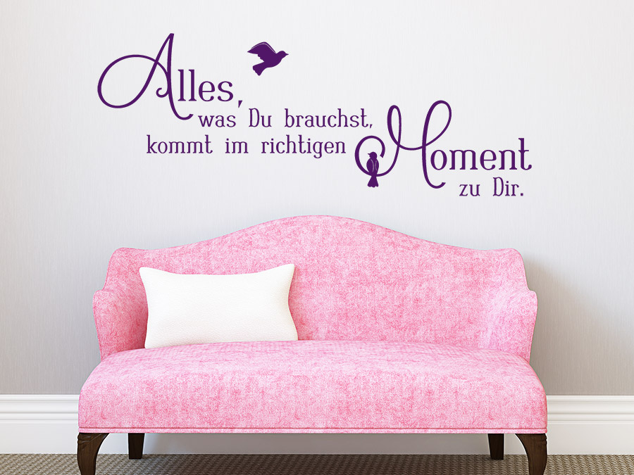 wandtattoo im richtigen moment spruch von. Black Bedroom Furniture Sets. Home Design Ideas