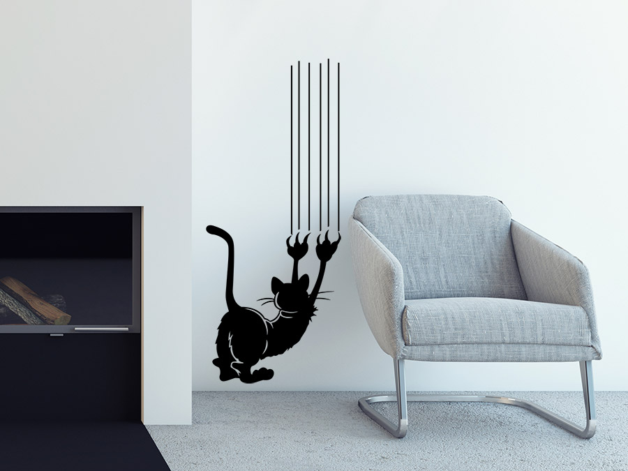 wandtattoo kratzende katze wandtattoo de. Black Bedroom Furniture Sets. Home Design Ideas