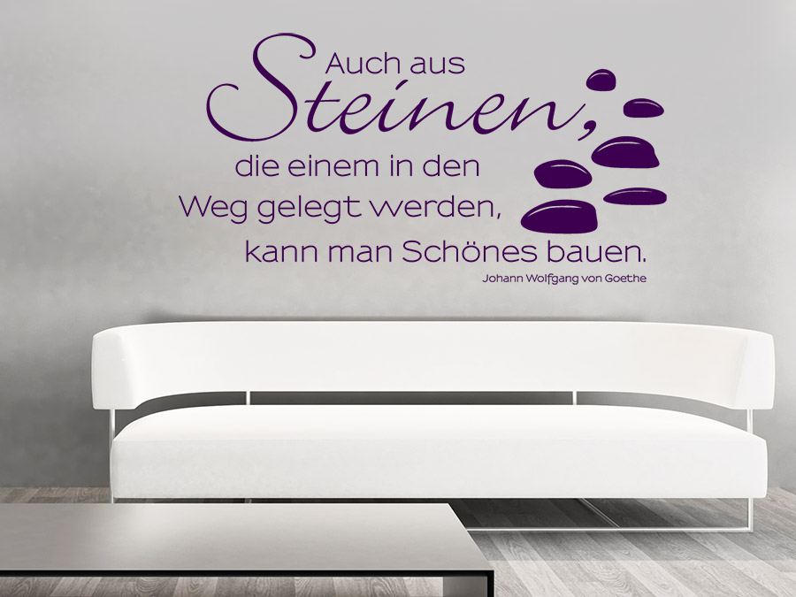 wandtattoo auch aus steinen zitat bei. Black Bedroom Furniture Sets. Home Design Ideas