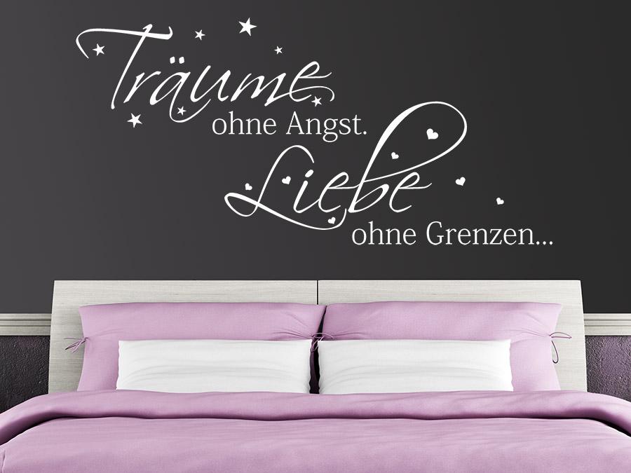 wandtattoo träume ohne angst. liebe ohne grenzen. | wandtattoo.de - Wandtattoo Wei Schlafzimmer