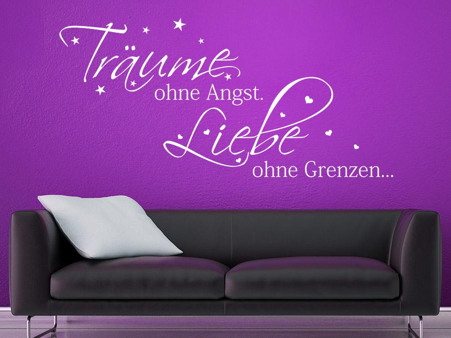wandtattoo träume ohne angst. liebe ohne grenzen. | wandtattoo.de