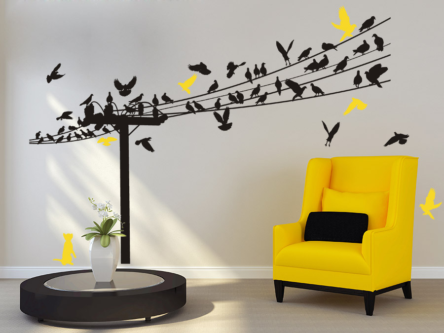 wandtattoo vogelschar auf stromleitungen wandtattoo de. Black Bedroom Furniture Sets. Home Design Ideas