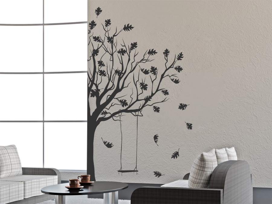 wandtattoo herbstbaum mit schaukel wandtattoo de. Black Bedroom Furniture Sets. Home Design Ideas