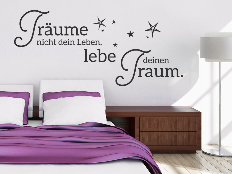 wandtattoo tr ume nicht dein leben mit sternen. Black Bedroom Furniture Sets. Home Design Ideas