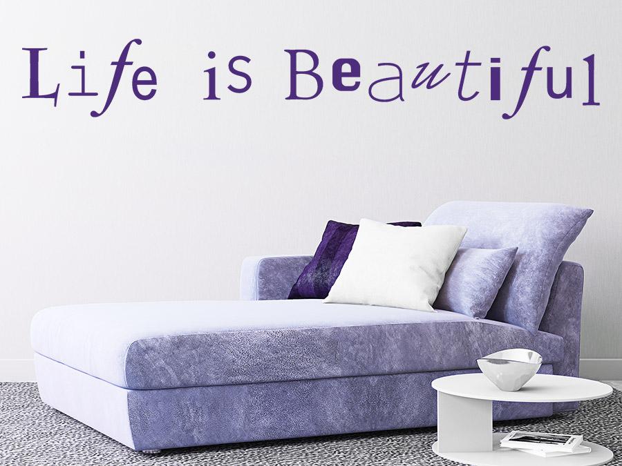 Wandtattoo life is beautiful in kreativer schrift wandtattoo de - Wohnzimmer spruche ...