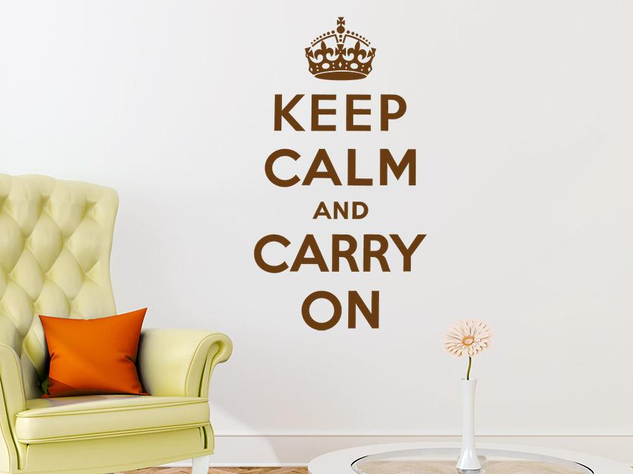 Wandtattoo keep calm and carry on mit krone wandtattoo de for Englisch krone