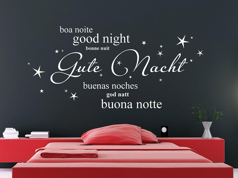Fabulous Wandtattoo Gute Nacht in verschiedenen Sprachen | WANDTATTOO.DE FV07