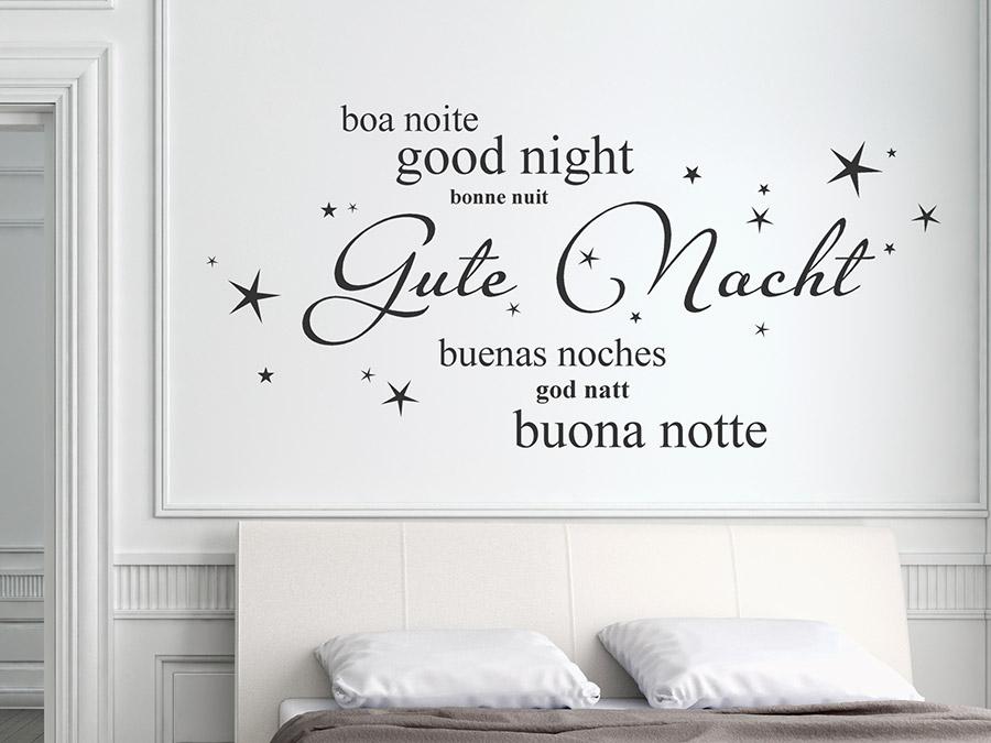 Wandtattoo gute nacht in 7 sprachen for Schlafzimmer italienisch