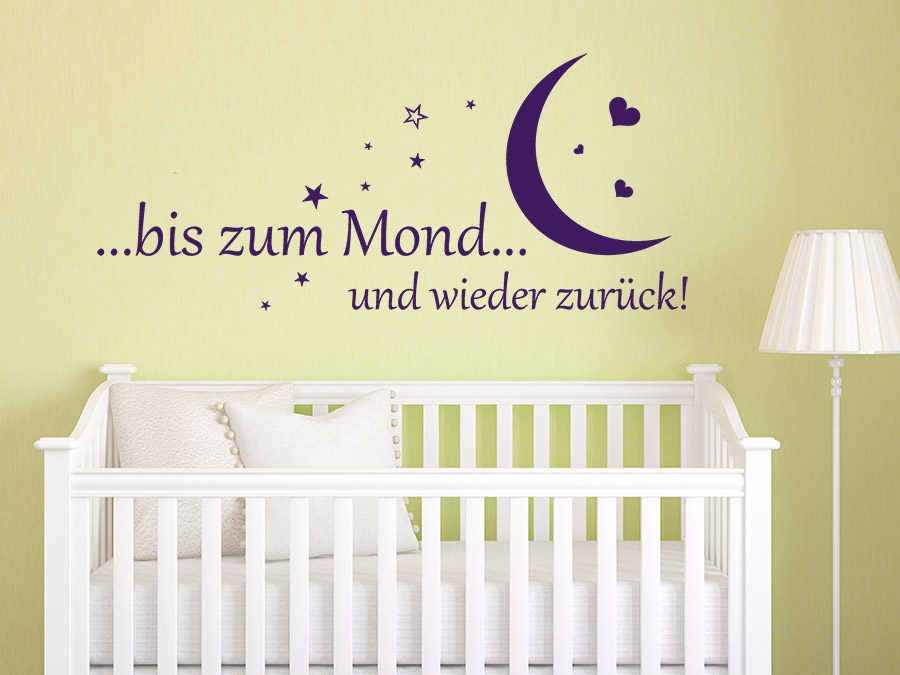 wandtattoo bis zum mond baby spruch von. Black Bedroom Furniture Sets. Home Design Ideas