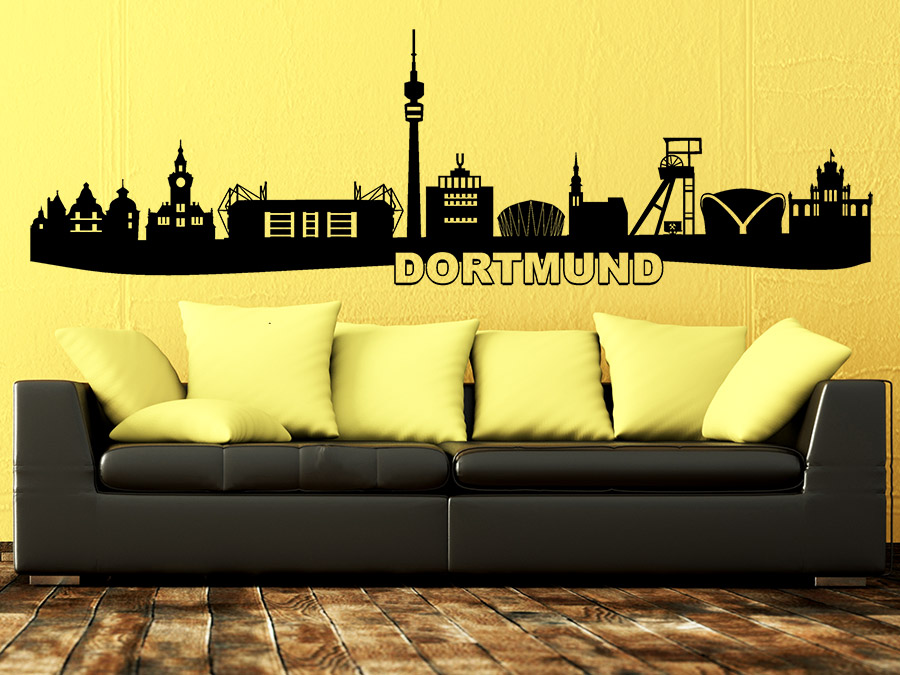 wandtattoo dortmund skyline mit stadion wandtattoo de. Black Bedroom Furniture Sets. Home Design Ideas