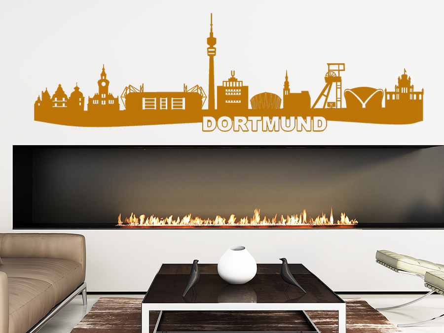 wandtattoo dortmund skyline mit stadion wandtattoo de. Black Bedroom Furniture Sets. Home Design Ideas