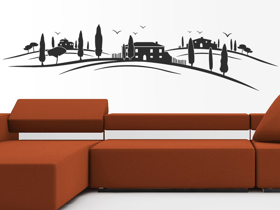 wandtattoo landschaft der toskana bei. Black Bedroom Furniture Sets. Home Design Ideas