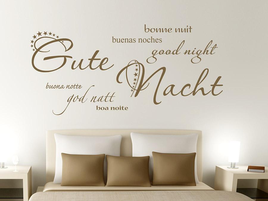 wandtattoo gute nacht in 7 sprachen schlafzimmer. Black Bedroom Furniture Sets. Home Design Ideas