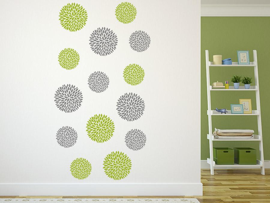 wandtattoo blumen dekor zweifarbig bei. Black Bedroom Furniture Sets. Home Design Ideas