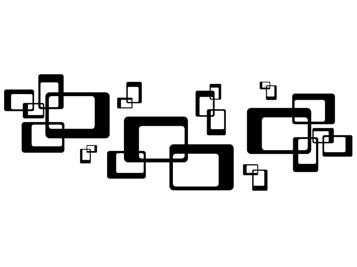 Ansicht Ornament Retro Rechtecke als Wandtattoo