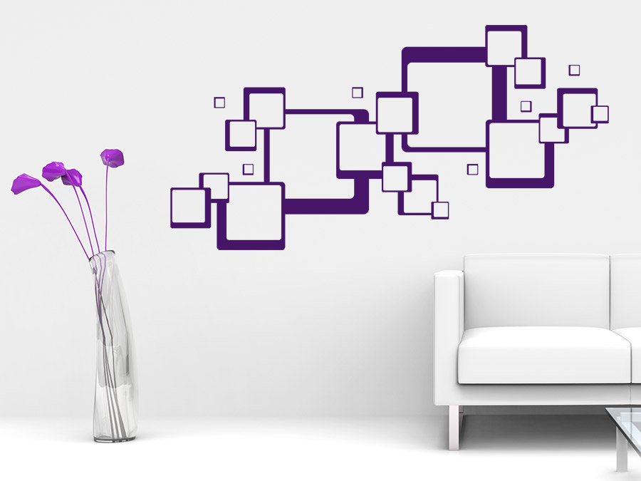 wandtattoo ornament quadrate retro optik wandtattoo de. Black Bedroom Furniture Sets. Home Design Ideas