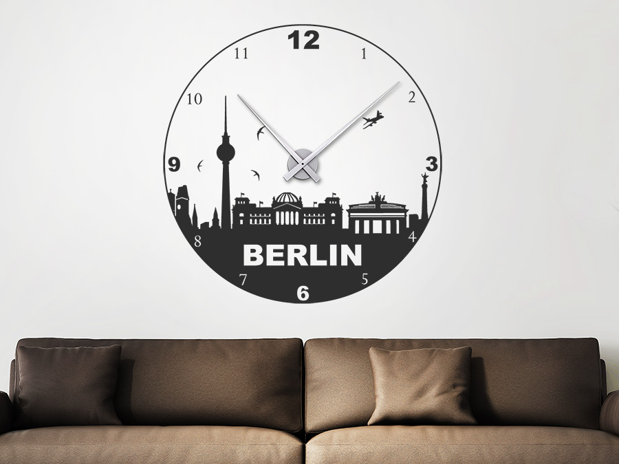 wandtattoo uhr berlin wanduhr skyline wandtattoo de. Black Bedroom Furniture Sets. Home Design Ideas