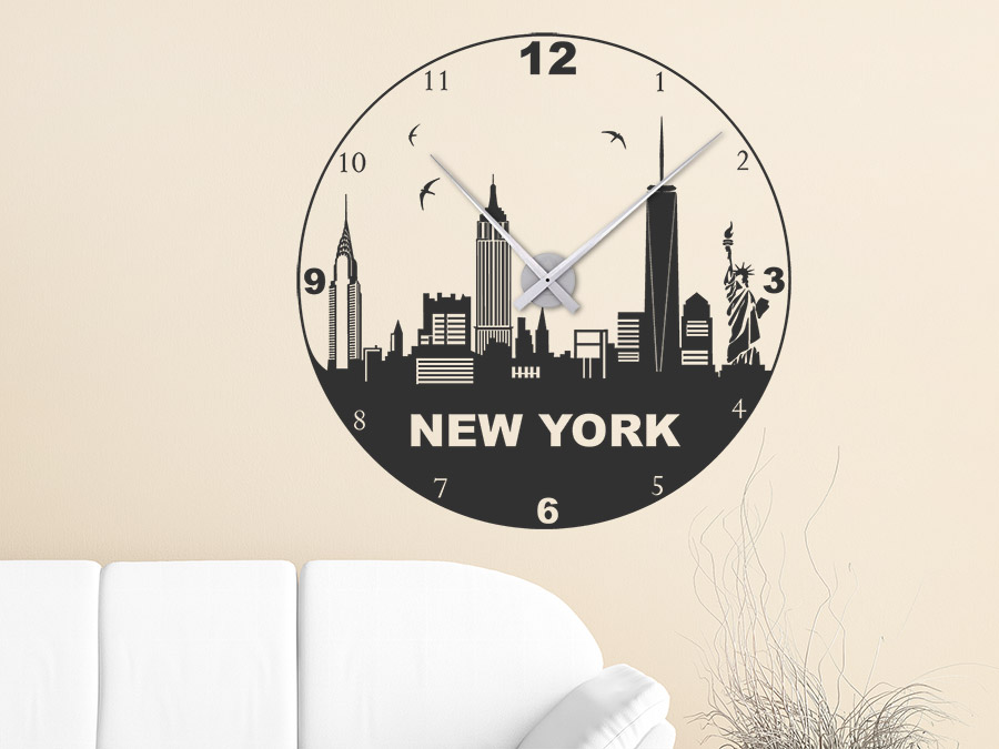 wandtattoo uhr new york wanduhr wandtattoo de. Black Bedroom Furniture Sets. Home Design Ideas