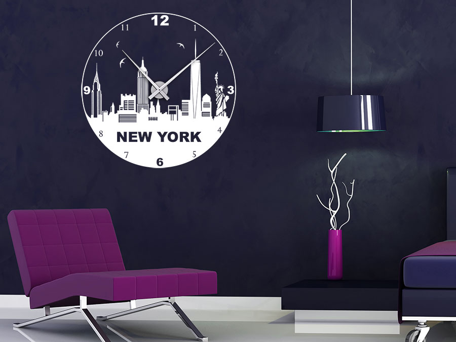 wandtattoo uhr skyline von new york bei. Black Bedroom Furniture Sets. Home Design Ideas